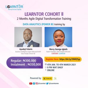 Learntor Cohort II Courses starting January 4th, Agile Scrum, Design Thinking, Data Analytics and PowerBI